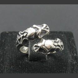 """Серебряное кольцо 925 пробы """"Два черепа"""""""