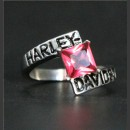 """Кольцо """"Harley Davidson"""" с искусственным розовым топазом"""