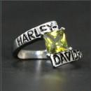 """Кольцо """"Harley Davidson"""" с искусственным желтым топазом"""