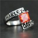 """Кольцо """"Harley Davidson"""" с искусственным гранатом"""
