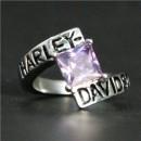 """Кольцо """"Harley Davidson"""" с искусственным аметистом"""