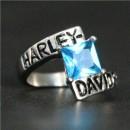 """Кольцо """"Harley Davidson"""" с искусственным голубым топазом"""