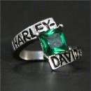 """Кольцо """"Harley Davidson"""" с искусственным изумрудом"""