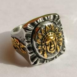"""Mассивный мексиканский перстень """"Вождь"""", с позолотой"""