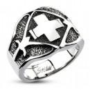 Стальной перстень с крестом Spikes