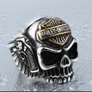 """Перстень с черепом и пистолетами """"Harley Davidson"""""""