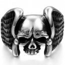 Стальной перстень с черепом и крыльями